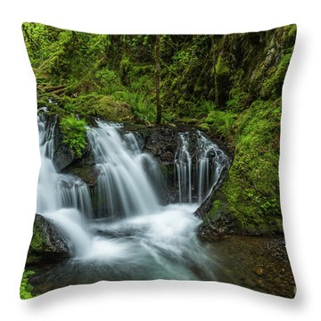 Emeral Falls Waterscape Art By Kaylyn Franks Throw Pillow