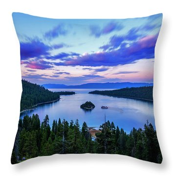 Emerald Bay And Ms Dixie At Sunset By Brad Scott Throw Pillow