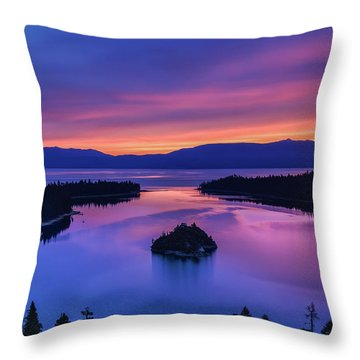 Emerald Bay Clouds At Sunrise Throw Pillow by Marc Crumpler