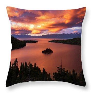 Emerald Bay Fire Throw Pillow