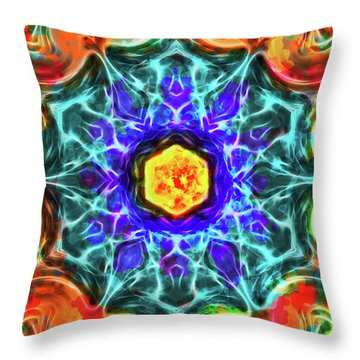 Emerald Circle Mandala Throw Pillow