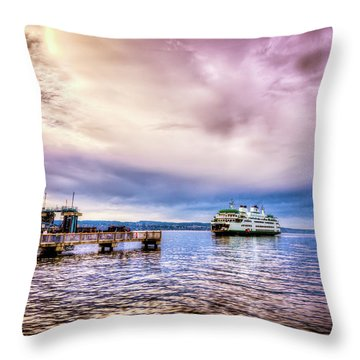 Emerald City Ferry Throw Pillow by Spencer McDonald