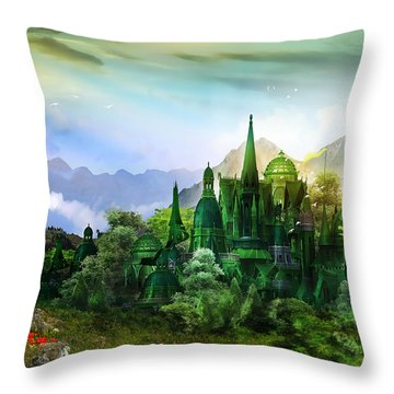 Emerald City Throw Pillow by Mary Hood