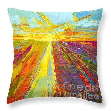 Emerald Dreams Modern Impressionist Oil Painting  Throw Pillow