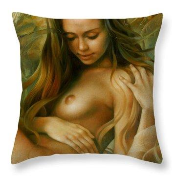 Emerald Fairy Throw Pillow by Arthur Braginsky