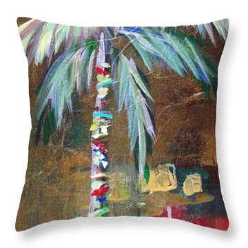 Emerald Fire Palm  Throw Pillow