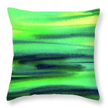 Emerald Flow Abstract Painting Throw Pillow