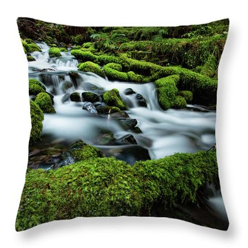 Emerald Flow Throw Pillow