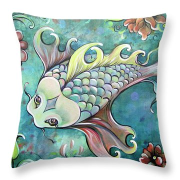 Emerald Koi Throw Pillow by Shadia Derbyshire