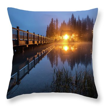 Throw Pillow featuring the photograph Emerald Lake Lodge In The Twilight Fog by Pierre Leclerc Photography