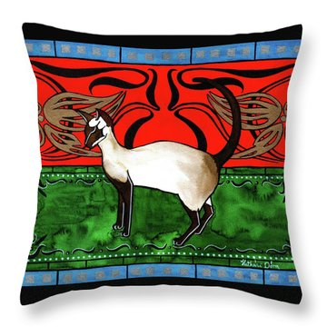 Emerald Meets Siamese Throw Pillow