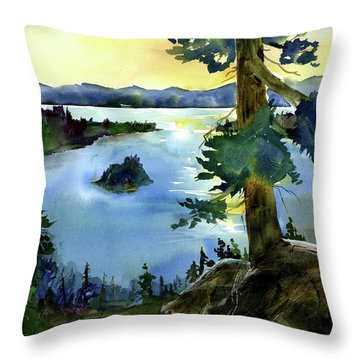 Emerald Morn, Lake Tahoe Throw Pillow