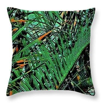 Throw Pillow featuring the digital art Emerald Palms by Mindy Newman
