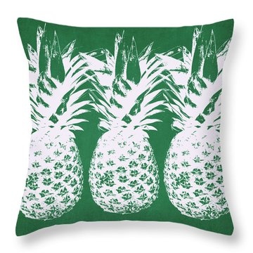 Throw Pillow featuring the mixed media Emerald Pineapples- Art By Linda Woods by Linda Woods