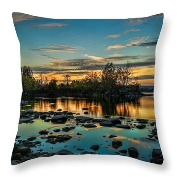 Emerald Sky Reflection Throw Pillow