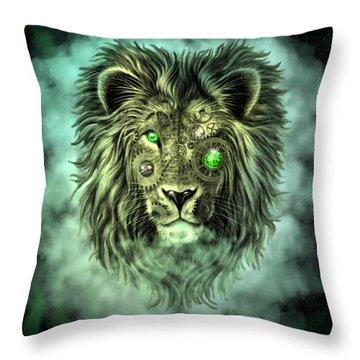 Emerald Steampunk Lion King Throw Pillow