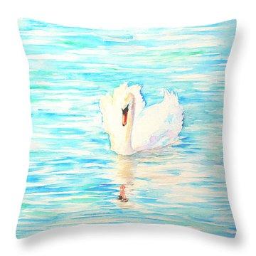 Emerald Swan Throw Pillow