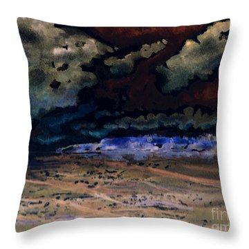 Throw Pillow featuring the painting Emerging Darkness by Reed Novotny