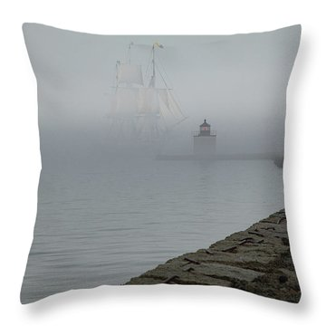 Throw Pillow featuring the photograph Emerging From The Fog by Jeff Folger
