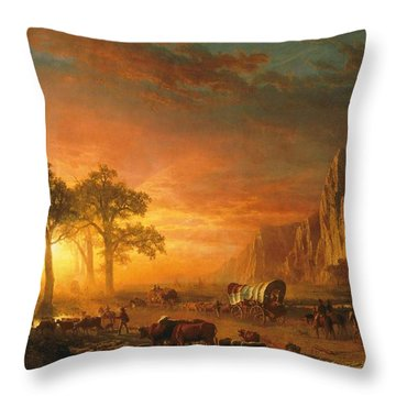 Throw Pillow featuring the photograph Emigrants Crossing The Plains - 1867 by Albert Bierstadt