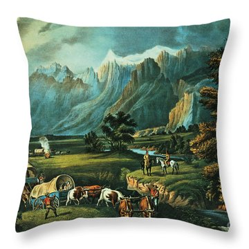 Emigrants Crossing The Plains Throw Pillow by Currier and Ives