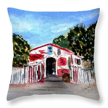 Throw Pillow featuring the painting Emiles Road Side Grocer by Donna Walsh