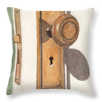 Emily's Door Knob Throw Pillow by Ken Powers