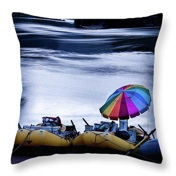 Throw Pillow featuring the photograph Eminence Camp Umbrella  by Britt Runyon