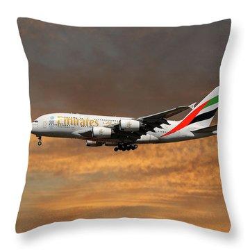 Emirates Airbus A380-861 3 Throw Pillow
