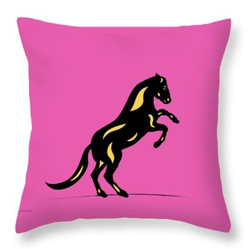 Emma II - Pop Art Horse - Black, Primrose Yellow, Pink Throw Pillow