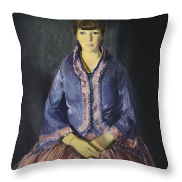 Emma In The Purple Dress Throw Pillow