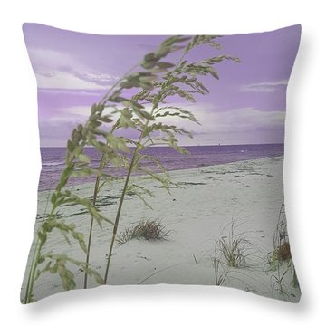 Emma Kate's Purple Beach Throw Pillow by Rachel Hannah