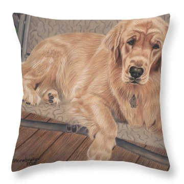 Emma On The Glider Throw Pillow