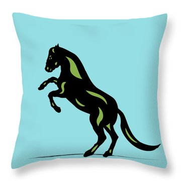 Emma - Pop Art Horse - Black, Greenery, Island Paradise Blue Throw Pillow