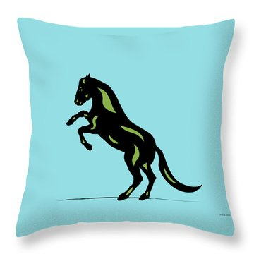 Emma - Pop Art Horse - Black, Greenery, Island Paradise Blue Throw Pillow
