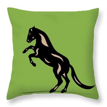 Emma - Pop Art Horse - Black, Hazelnut, Greenery Throw Pillow