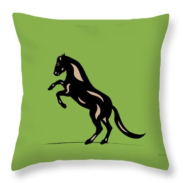Emma - Pop Art Horse - Black, Hazelnut, Greenery Throw Pillow