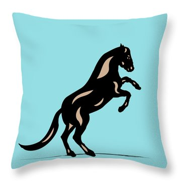 Emma II - Pop Art Horse - Black, Hazelnut, Island Paradise Blue Throw Pillow