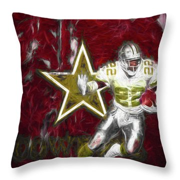 Throw Pillow featuring the photograph Emmitt Smith Nfl Dallas Cowboys Gold Digital Painting 22 by David Haskett