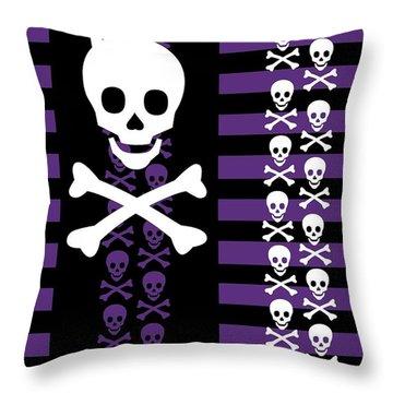 Emo Punk Skull Throw Pillow by Roseanne Jones