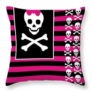 Emo Skull Princess Throw Pillow by Roseanne Jones