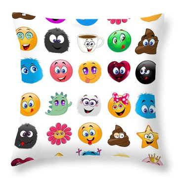Emoji - Emoticons Throw Pillow