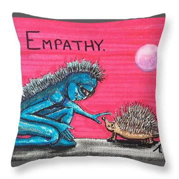 Throw Pillow featuring the painting Empathetic Alien by Similar Alien