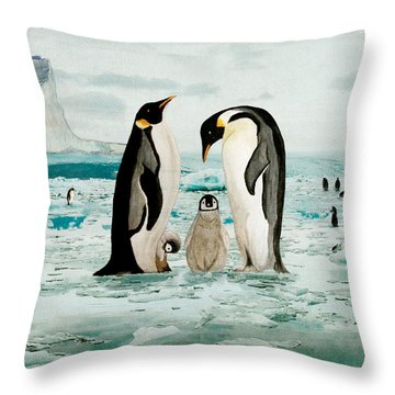 Throw Pillow featuring the painting Emperor Penguin Family by Angeles M Pomata