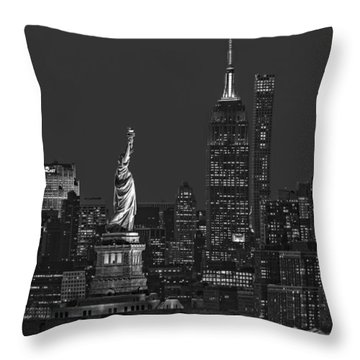Throw Pillow featuring the photograph Empire State And Statue Of Liberty II Bw by Susan Candelario
