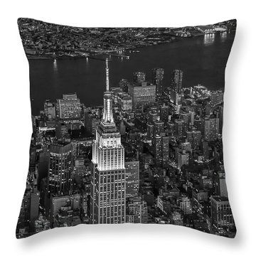 Empire State Building Aerial View Bw Throw Pillow by Susan Candelario