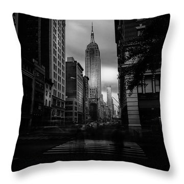 Throw Pillow featuring the photograph Empire State Building Bw by Marvin Spates