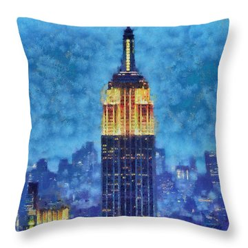 Empire State Building By Night Throw Pillow