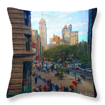 Throw Pillow featuring the photograph Empire State Building - Crackled View 2 by Madeline Ellis