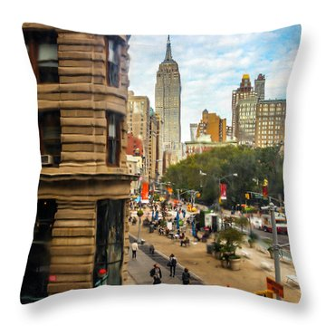 Throw Pillow featuring the photograph Empire State Building - Crackled View 3 by Madeline Ellis